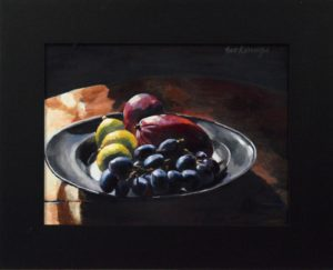 Tinnen schaal met fruit