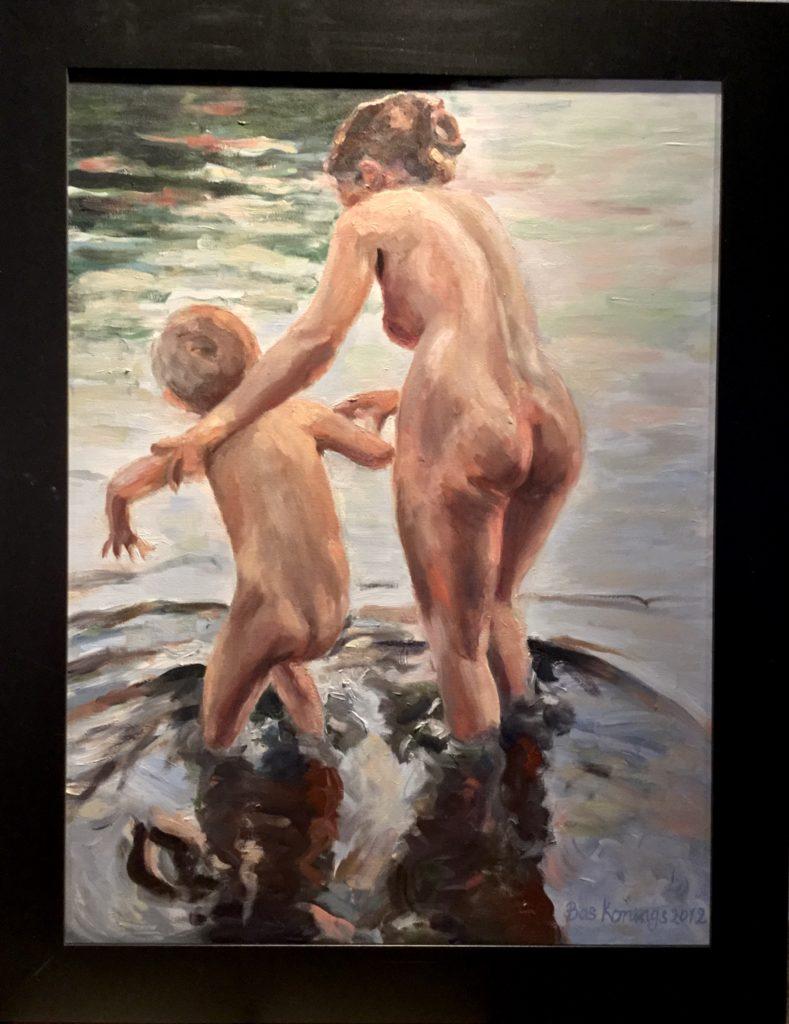 Bas Konings. Moeder en kind badend