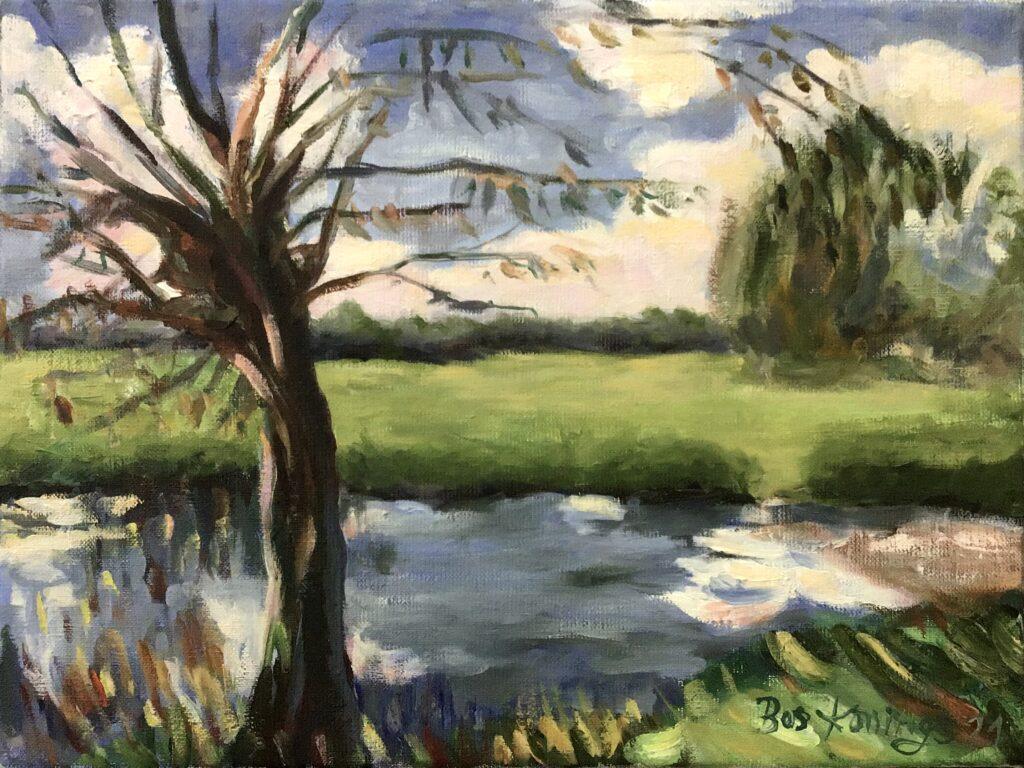 120821_Bas Konings-Landschap met knotwilg -geinspireerd door Singer Sargent30 x 40 cm